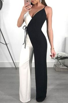 Contrast Color Spaghetti Strap Wrapped Wide Leg Jumpsuit - Fashion Able Classy Dress, Classy Outfits, Cute Outfits, Casual Outfits, Classy Chic, Chic Dress, Casual Chic, Jumpsuit Outfit, Casual Jumpsuit