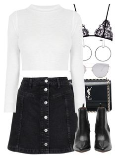 """""""Untitled #3994"""" by amyn99 on Polyvore featuring Yves Saint Laurent, Topshop and Gentle Monster"""