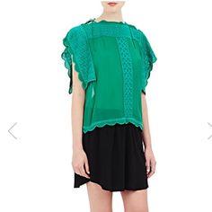 Isabel Marant Etoile green silk top nwt sz s Green silk embroidered top Isabel Marant Tops Blouses