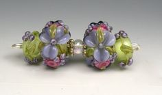 Set of 4 Pale Green & Purple Rondelles-Brilynn Beads-Handmade Lampwork Glass Beads SRA