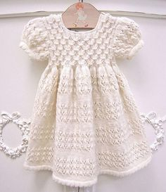 the most adorable baby dress ! Everyone has a copy of this pattern, the most adorable baby dress! any one have a copy of this pattern, - Unique Baby Outfits Knitting For Kids, Baby Knitting Patterns, Baby Patterns, Hand Knitting, Crochet Patterns, Knitting Projects, Knit Baby Dress, Knitted Baby Clothes, Smock Dress