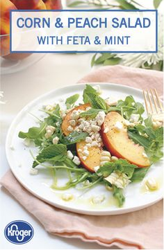 Learn how to prepare this easy Corn and Peach Salad with Feta and Mint recipe like a pro. Mint Recipes, Summer Recipes, Salad Recipes, Tasty Dishes, Side Dishes, Easy Salads, Feta, Olive Oil