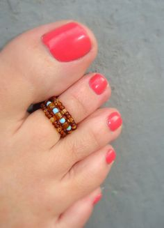 Toe Ring Topaz Luster Mix Baby Blue Glass by FancyFeetBoutique, $3.25