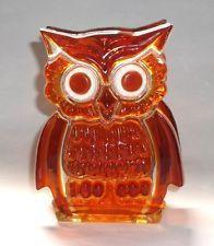 Vintage Retro Lucite Acrylic OWL Napkin Letter Holder Orange Amber Mid Century