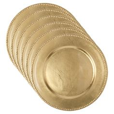 Bulk Gold Plastic Charger Plates with Beaded Rims, 13 in. at ...