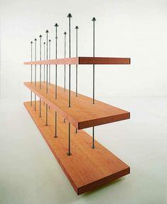 RIVA 1920 | Prodotti | Librerie | Piano Design Wood and rod shelves