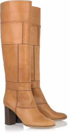 CHLOE Stitched Leather Knee Boots