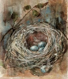 Nesting - days 7 & 8 in the challenge, painting by artist Julie Ford Oliver