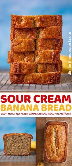 Sour Cream Banana Bread is a flavorful, easy no-mixer quick bread made with ripe bananas and sour cream. #dessert #breakfast #bananas #bananabread #sourcream #easybreakfast #breakfastbaking #dinnerthendessert Fun Baking Recipes, Quick Bread Recipes, Cake Recipes, Dessert Recipes, Top Recipes, Yummy Recipes, Breakfast Recipes, Sour Cream Banana Bread, Moist Banana Bread