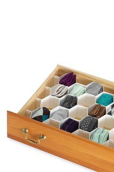Honeycomb drawer organizer // genius product!