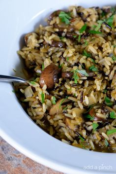 Simple Mushrooms with Long Grain and Wild Rice