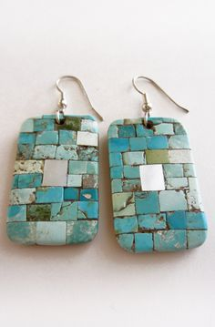 Inlay Turquoise & Mother of Pearl on Cotton Wood Tile Earrings