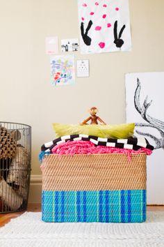 DIY painted blanket basket with @west elm