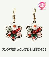 Flower Agate Ethnic Earring