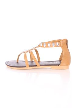 Tan Gemstone Strappy Sandals Faux Leather