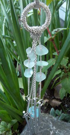 Etsy Aqua Blue Sea Glass Wind Chimes California by timeremains, $24.50