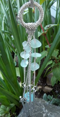 Etsy Aqua Blue Sea Glass Wind Chimes California Beach Glass