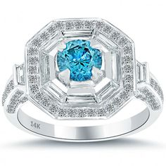 2.07 Carat Fancy Blue Diamond Engagement Ring 14k Gold Pave Halo Vintage Style - Blue Diamond Rings - Color Rings