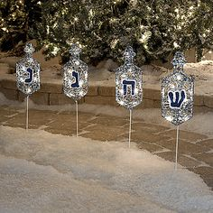 Lighted Beaded Pathway Dreidel Markers - Set of 4 from bedbathandbeyond.com