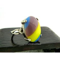 Ring Sterling Silver Mauve Yellow Blue Striped Cab Stone Fine Jewelry (€21) ❤ liked on Polyvore featuring jewelry, yellow stone jewelry, fine jewelry, fine jewellery, sterling silver fine jewelry and stone jewellery
