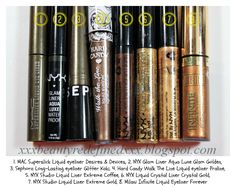 BeautyRedefined by Pang: Brown and Gold Liquid Eyeliners - Swatches
