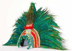Montezuma's Aztec Feather Headdress, Mexican King Moctezuma Mayan penacho, Museum quality tribal replica Handmade by Tentacle Studio. Aztec Headdress, Feather Headdress, Indian Headpiece, Montezuma, Aztec Costume, Aztec Gold, Tribal Feather, Hand Stamped Metal, Blue And Green