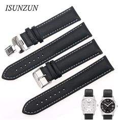 ISUNZUN  Watch Straps For Tissot T014 T049 PR100 Genuine leather 19MM Watch Band High Quality Nato Leather Strap Watchbands