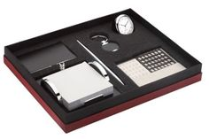 Chrome Plated Gift Set with Business Cards Case, Key tag, Pen, Clock & Calendar