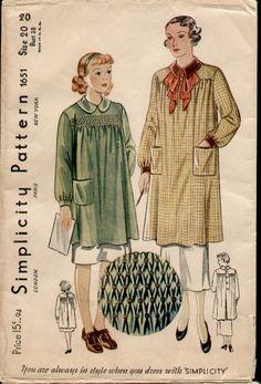 Simplicity 1651, 1934 Smocked-Yoke Smock