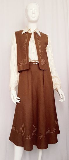 Vintage MARIANNE Wool Vest and Skirt Ensemble w Decorative Silk Couching Embellishment and Horse Bit Belt Detail Mary Tyler Moore, Horse Bits, Wool Vest, Gucci Fashion, Caramel Color, Amber Color, Brown Leather Boots, Silk Satin, Belt