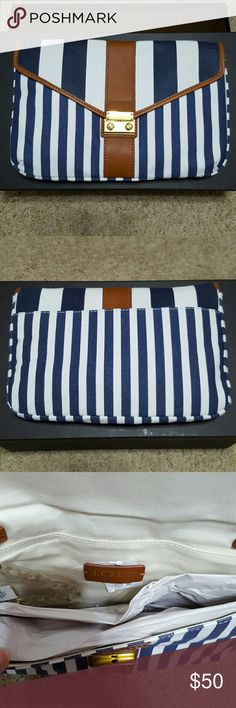 """Striped Canvas Clutch Canvas. 7 1/4""""L x 11""""W x 5/8""""D. Removable strap. Lock closure. Brand new with tag! J. Crew Bags Clutches & Wristlets"""