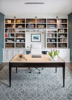 Karen Kempf Interiors | office, custom buit-ins, bookcase, custom desk, painted and stained built-in, Jeff Lewis Color Green with Envy