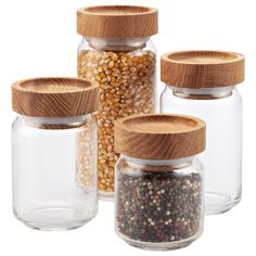 Artisan Glass Canisters with Oak Lids | for storage in the bathroom along sink (qtips, cotton balls etc)