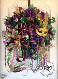Deluxe Mardi Gras Deco Mesh Wreath by DesignsbyJordanTX on Etsy, $135.00