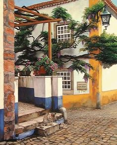 "I own this in fine print. Portugal ""Sintra Kitty"" by JoAnne Berkow. Urban Painting, Portugal, Kitty, Outdoor Structures, Plants, Art Paintings, Graphics, Artists, Canvases"