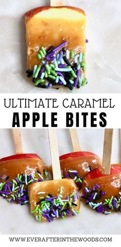 The Best Caramel Apple Bites Recipe to make caramel apples at home this fall. Best Apple Recipes, Best Dessert Recipes, Fall Recipes, Caramel Apple Bites, Caramel Apples, Summer Desserts, Fun Desserts, Halloween Food For Party, Halloween Treats