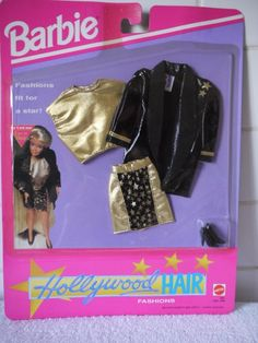 Barbie HOLLYWOOD HAIR Fashion #1981 - Black Vinyl Jacket and Gold Lame Skirt Set (1992)