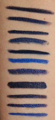 Navy Blue Eyeliners: BB Black Navy, MUFE #8K, bareMinerals Noon, D&G 8, EL Blackened Sapphire, MAC Marine Ultra, MAC Prussian, MAC Blooz, Givenchy #14, NARS Rue Saint-Honore, YSL #3