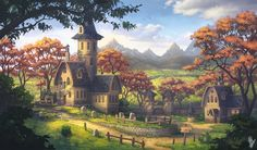Beautiful Fantasy Village Art