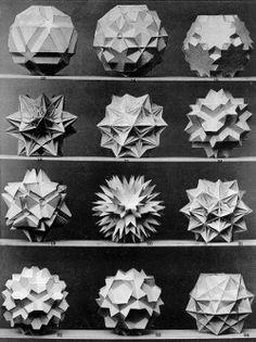 "design-is-fine: "" Max Brückner, from his book Vielecke und Vielfläche, Leipzig, Germany. Via Bulatov. Brückner extended the stellation theory beyond regular forms, and identified ten stellations. Geometric 3d, Platonic Solid, Occult Symbols, Geometry Pattern, Creta, Math Art, Flower Of Life, Sacred Geometry, Kirigami"