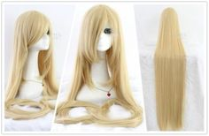 Extra Long Straight Blonde/Beige Cosplay Party Wig with Comb Long Platinum Blonde, Beige Blonde, Light Blonde, Short Human Hair Wigs, Long Wigs, Weave Hairstyles, Straight Hairstyles, The Ancient Magus Bride, Natural Wigs