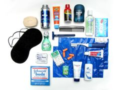 Air Travel Toiletry Kit. While the kit shown is aimed at men, it's actually a pretty good kit for either sex. I'd leave out the shaving foam (you can use soap, you know, or any of these things: http://lifehackery.com/2008/07/23/health-3/), and I'm not sure the razor would be allowed on board an airplane, but other than that, it's a pretty good kit, and not just for air travel. Those travel sized containers last amazingly long.