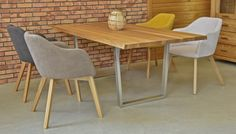 Inox oak table with chairs Oak Table And Chairs, Wood Tables, Dining Chairs, Dining Table, Wood Design, Chair Design, Furniture, Home Decor, Wooden Tables