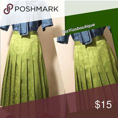 Vintage Pleated Skirt Vintage  Pleated Olive Lime green with square shapes Pleated Skirt. 💕LOVE IT💕 . Size: Small-Med or size 7/8 Waist: 28-31 Length: 33 Vintage Skirts Maxi
