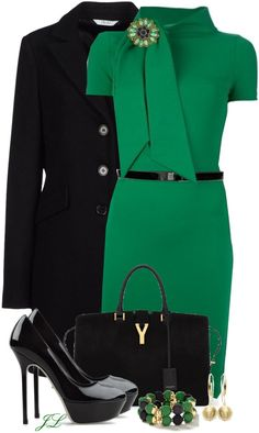 minus those shoes. this outfit call for a more elgant shoe not a platform shoes Kelly green work outfit Mode Outfits, Stylish Outfits, Fall Outfits, Fashion Outfits, Womens Fashion, Green Outfits, Office Outfits, Classy Outfits, Mode Ootd