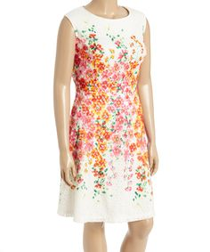 Look what I found on #zulily! Sandra Darren Ivory & Pink Floral Lace Fit & Flare Dress - Plus by Sandra Darren #zulilyfinds