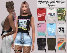 "lumysims: "" Rhaenys Side Tie Tee • 35 Swatches • HQ Mod Compatible • Custom Catalog Thumbnails • Download on my website """