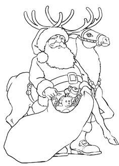 santa claus and his reindeer in christmas coloring pages - Christmas Pictures For Coloring