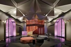 concrete unveils the completed images of japan's first W hotel in osaka Hotel W, Treatment Rooms, Japan Design, White Ceiling, Smooth Walls, Hotel Interiors, Facade Design, Room Themes, Retail Design