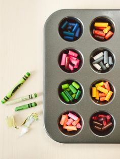 How to Recycle Crayons - You can also mix the colors so they are like tie-dye crayons.